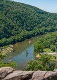 Rio de Shenandoah perto da balsa dos harpistas, alturas ocidentais de Virginia Aerial View From Maryland Imagem de Stock