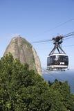 Rio de Sugarloaf Pao de Acucar Mountain Cable Car Imagem de Stock