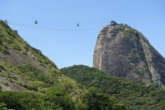 Rio de Sugarloaf Pao de Acucar Mountain Cable Cars Foto de Stock Royalty Free