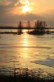 Rio de Vistula em Poland - por do sol. Imagem de Stock Royalty Free
