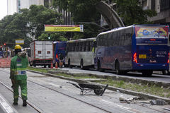 Rio del centro non crea boulevard motorizzato del veicolo Immagine Stock