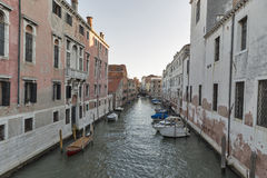 Rio del Gesulti canal in Venice at sunset, Italy. Stock Photos