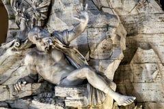 Rio della Plata, dei Quattro Fiumi di Fontana Piazza Navona, Roma L'Italia Fotografie Stock
