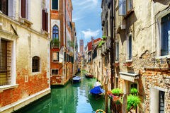 The Rio di San Cassiano Canal with boats in Venice, Italy Stock Photography