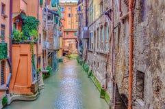 Rio do canal na Bolonha Itália Fotografia de Stock Royalty Free