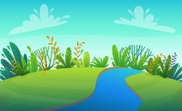 Rio do gramado da grama verde em árvores do parque ou de floresta e em fundo do cenário das flores dos arbustos, illust do vetor  ilustração stock