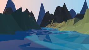 Rio dos desenhos animados e fundo poli das montanhas baixo fotografia de stock royalty free