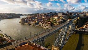 Rio Douro. Porto, Portugal - March 6, 2016 : Ponte d`Luís on the River Douro to join the cities of Vila Nova de Gaia and Porto, Portugal Royalty Free Stock Image