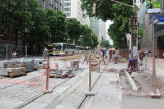 Rio du centre ne crée aucun boulevard motorisé de véhicule Photos stock