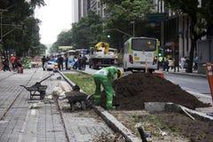 Rio du centre ne crée aucun boulevard motorisé de véhicule Image stock