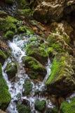 Rio e cachoeira subterrâneos em Romênia Fotografia de Stock