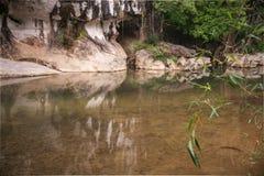 Rio e gruta na floresta tropical do santuário de Khao Sok, Thail Imagem de Stock