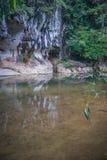 Rio e gruta na floresta tropical do santuário de Khao Sok, Thail Fotos de Stock Royalty Free