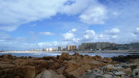 Rio e Oceano Atlântico de Douro em Porto, Portugal Fotos de Stock Royalty Free