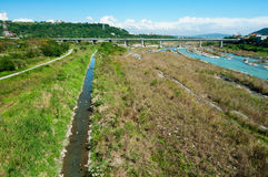 Rio e vala de irrigação Fotos de Stock Royalty Free