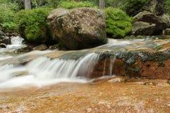 Rio em Forest Waterfall Verde e cores de Brown Foto de Stock Royalty Free