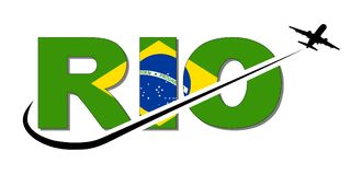 Rio flag text with plane and swoosh illustration Royalty Free Stock Photo