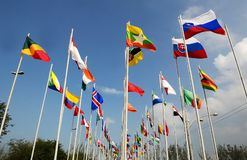 Rio 20 - Flags of Countries. Rio de Janeiro, June 20, 2009.Flags hoisted from various countries during the Rio 20 conference at Riocentro, in the city of Rio de Stock Photography