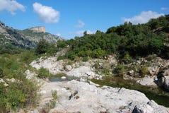 Rio flumineddu. Landscape of sardinian mountains and river Royalty Free Stock Photos