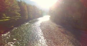 Rio fresco e limpo excedente de trajetória aérea meados de da montanha na manhã ensolarada do verão video estoque