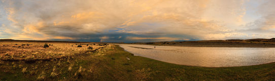 Rio Gallegos panorama. Panorama of popular river stretsch for flyfishing, Patagonia, Argentina stock images