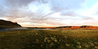 Rio Gallegos panorama. Panorama of popular river stretsch for flyfishing, Patagonia, Argentina stock image