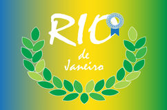 Rio games. Rio de Janeiro vector background. Rio award laurel wreath on Brazilian flag colors Royalty Free Stock Photos