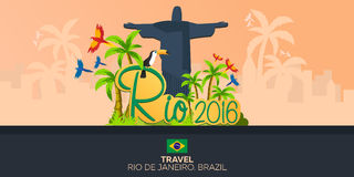 Rio 2016 games. Travel in Brasil. South America. Statue of Christ the Redeemer. Stock Photos
