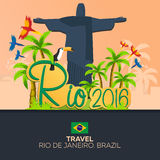 Rio 2016 games. Travel in Brasil. South America. Statue of Christ the Redeemer. Rio 2016 games. Travel in Brasil. South America. Statue of Christ the Redeemer Stock Photo