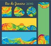 Rio 2016 - geplaatste banners en knopen, vectormalplaatje Stock Afbeeldingen