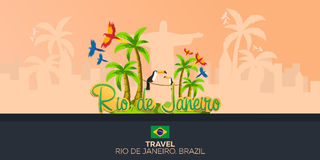 Rio 2016 gier Podróż w Brasil 3 d formie wymiarowej Amerykę wspaniałą na południe ilustracyjni trzech bardzo christ odkupiciela s Obraz Stock