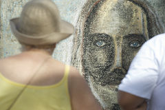 Rio Graffiti Drawing of Cristo Redentor Ipanema Royalty Free Stock Photos