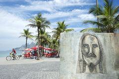 Rio Graffiti Drawing of Cristo Redentor Ipanema Royalty Free Stock Photos