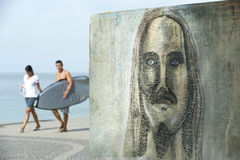 Rio Graffiti Drawing of Cristo Redentor Ipanema Surfers Royalty Free Stock Image