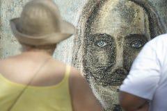 Rio Graffiti Drawing van Cristo Redentor Ipanema Royalty-vrije Stock Foto's
