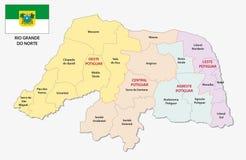 Rio grande do norte administrative and political map with flag Stock Images