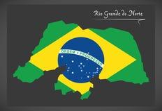Rio Grande do Norte map with Brazilian national flag illustratio Royalty Free Stock Photos
