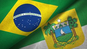 Rio Grande do Norte state and Brazil flags textile cloth, fabric texture. Rio Grande do Norte state and Brazil folded flags together stock illustration