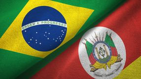 Rio Grande do Sul state and Brazil flags textile cloth, fabric texture. Rio Grande do Sul state and Brazil folded flags together royalty free illustration