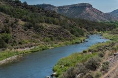 The Rio Grande Flows near Taos in northern New Mexico, view towards the north. stock photo