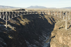Rio Grande Gorge Bridge. Suspension Bridge over the Rio Grande River at Taos New Mexico stock photo