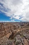 Rio Grande Gorge Bridge in Taos County, New Mexico. The construction of this suspension bridge was finished 1965. It is the second highest of its kind in the Stock Image