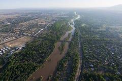 Rio Grande i Albuquerque som är ny - Mexiko Royaltyfria Bilder