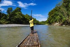 Rafting on bamboo raft on Rio Grande, Port Antonio, Jamaica royalty free stock images