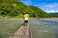 Rafting tour on bamboo raft on Rio Grande, Port Antonio, Jamaica royalty free stock images