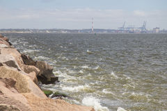 Rio grande port and waves in breakwater at Cassino beach Stock Images