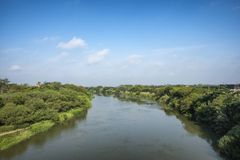 Rio Grande river. On the border between United States and Mexico in Texas stock images