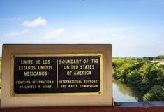 The border sign United States and Mexico. Rio Grande river on the border between United States and Mexico in Texas stock photos