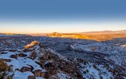 Rio Grande Valley, mening van de Witte Rots overziet in New Mexico stock foto's