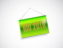 Rio 2016 hanging banner sign illustration. Design over a white background Royalty Free Stock Photos